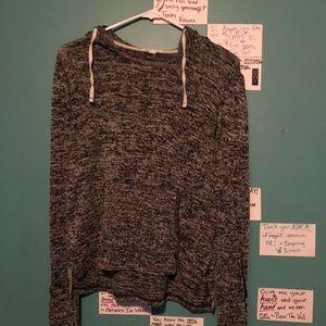 Aeropostale black and white knit hooded shirt